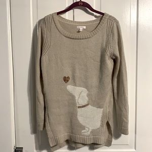 LC Lauren Conrad Dog and Heart Sweater Size Small